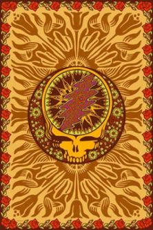 Grateful Dead Steal Your Face Roses Brown Tapestry
